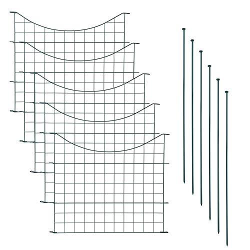 Teichzaun Set mit 5 Zaunelementen und 6 Befestigungsstäben, Welpanauslauf, Metall, Gartenzaun, Freigehege, Teich, Zaun, Set, 5 Elemente, Gitterzaun (Unterbogen)