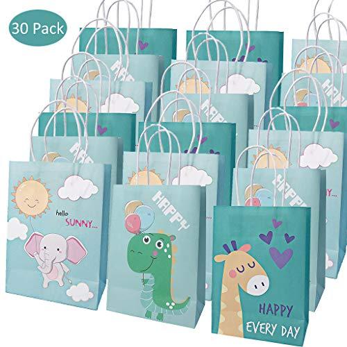 Amycute 30 Piezas bolsas de papel para regalos, Bolsas de Fiesta cumpleaños infantil Bolsas Papel Kraft Dinosaurio, jirafa, elefante Bolsas para Baby Shower, Cumpleaños