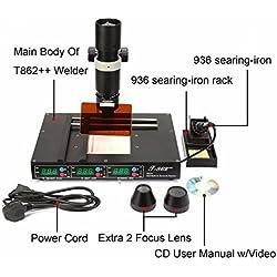T862 ++ estación de soldadura estación de retrabajo infrarrojo Estación de soldadura avanzada soldadora SMD IRDA Kit de soldadura de 800W para laboratorios escolares soldadura de retrabajo desoldar