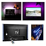 Kohree TV Backlight Bias HDTV USB Powered 2 RGB Multi Color Led Strip with Remote Control Home Theater Accent Lighting Kits (Reduce Eye Fatigue and Increase Image Clarity), Set of 2