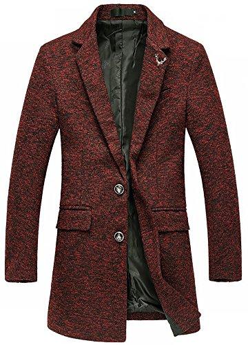 Herren Einfarbige Sportjacke Wolle-mische Winterjacke Blazer für Freizeit Rot