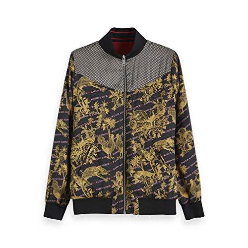 Scotch & Soda Maison Damen Jacke Printed Reversible Bomber Jacket, Mehrfarbig (Combo A 17), Large (Herstellergröße: L) -