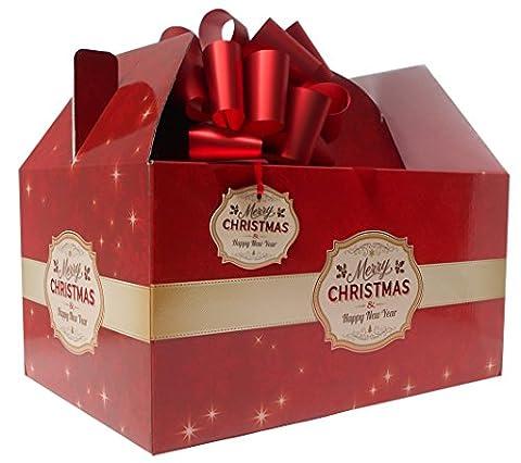 Giant Gable Box Geschenk-Set mit Seidenpapier, Pull Schleife und Geschenkanhänger, Rot Merry (Weihnachten Gable Boxen)