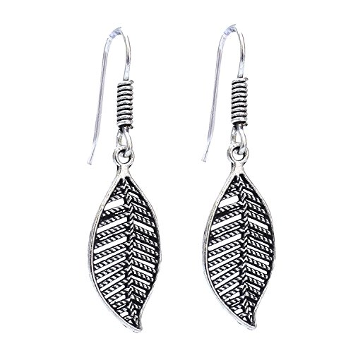 Lucky jewellery Designer Silver tone Black Metal Oxidised Leaf Earrings sutiable for all girls ladies and women best in casual wear  available at amazon for Rs.182