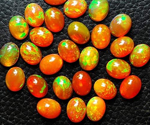 Gems-World Beads 1 Pieces, Super Flash Rainbow Orange Fire Ethiopian Opal Cabochon, Size 9x7mm Code:- VCCK-3759