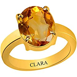Clara Certified Citrine Sunehla 4.8 carat or 5.25ratti Panchdhatu Gold Plating Astrological Ring For Men & Women