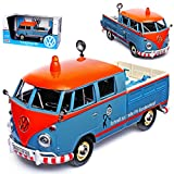 VW Volkswagen T1 Grau Orange Pick-Up mit Werkzeug VW Kundendienst Samba Bully Bus 1950-1967 1/24 Motormax Modell Auto