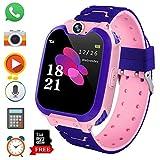 Reloj Inteligente para Juegos Infantiles con MP3 Player - [1GB Micro SD Incluido] Llamada de Pantalla táctil de 2 vías Juego de Alarma cámara Reloj Regalo de Juguete de cumpleaños (Rosa)