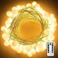 LED Kugel Lichterkette, Nasharia 50 LED Glühbirne Lichterkette Warmweiß, IP65 Wasserdicht ,Globe Lichterkette, Batteriebetrieben Lichterkette, Mit IR Fernbedienung für Weihnachten, Hochzeit, Party, Zuhause sowie Garten, Balkon, Terrasse, Fenster, Treppe, Bar. [Energieklasse A++] [Energy Class A++]