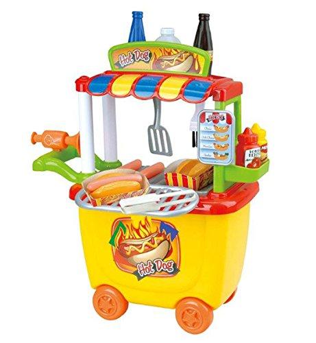 Playgo 3502 - Hot Dog Verkaufsstand Lebensmittel Spielbox für Spielküche 30 tlg