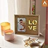 Archies LOVE wooden photo frame with stand, led lights for decoration