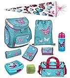 Scooli Butterfly Mädchen Schulranzen-Set 10tlg. Campus Up mit Dose/Flasche Sporttasche und Schultüte 85cm Schmetterling und Blumen türkis