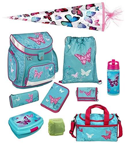 Scooli Butterfly Schulranzen Set 10tlg. Dose/Flasche Sporttasche und Schultüte 85cm BUKR8251