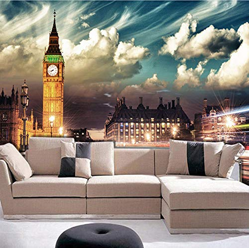 VVNASD 3D Wand Dekorationen Aufkleber Wandbilder Tapete London Big Ben City Night Schlafzimmer Wohnzimmer Sofa Background Home Decor Kunst Mädchen Zimmer (W) 140X(H) 100Cm - London-themed Kunst