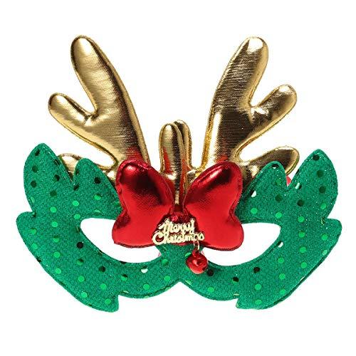 BESTOYARD Máscara de Disfraces de Navidad Elk Máscara de Tela Niños Adultos Cosplay Fiesta de Navidad Verde