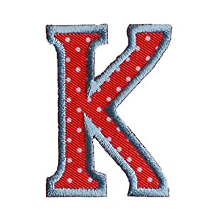 K 9cm ABC Rot Weiss Dekoration Geschenk Stoff Patch Namen Zum Aufbügeln Auf  Turnsack Fahne Wimpel Türschild Kissen Hemd Jeans Rock Hosen Kleider Kappe  Hut ...