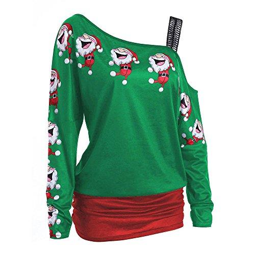Bellelove ❤ Weihnachten Long Sleeve schrägt aus Schulter Sweatshirt, Frauen Santa Print Top Langarm Sexy Schulterfrei T-Shirt Solid Color Long Shirt