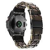 TRUMiRR Für Garmin Fenix 5X Holz Armband, 26mm Naturholz & Edelstahl Armband Schnellspanner Einfach Fit Strap Uhrenarmband für Garmin Fenix 5X, Fenix 3, Fenix 3 HR