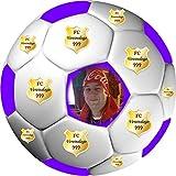 Tortenaufleger Fussball Fußball in 3D-Optik für einen tollen 3D-Effekt mit Foto & Vereinslogo Vereinswappen Rund 20 cm FB05 (Violett)