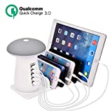 Grandwill USB Charging Station, LED Mushroom Night Light with 5-Port Charger and Quick Charge 3.0 Technology for Kindle Tablet iPhone and Other Smart Phone, Desk Lamp with USB Charger Station