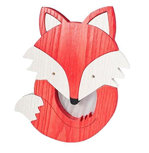 Clevere Kids Kinder Wandlampe Alle Meine Tiere Holz Handarbeit A++ (Fuchs)