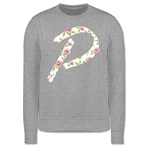 Anfangsbuchstaben - P Rosen - Herren Premium Pullover Grau Meliert