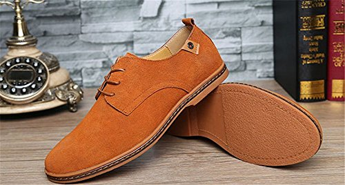 Wealsex Chaussures de ville à Lacet Chaussure Basse Cuir Suédé Casual Homme Brun