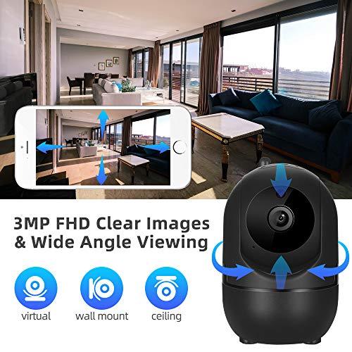 Dericam Überwachungskamera, WLAN IP Kamera, WiFi 3MP Videoüberwachung Monitor mit Bewegungserkennung, HD Mobile APP Kontrolle, Zwei-Wege Audio,Schwarz