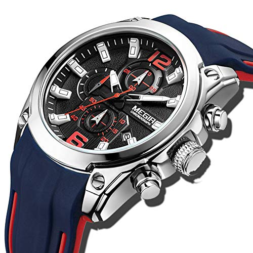 Relojes para hombre Impermeable Moda Correa azul Reloj de cuarzo analógico Caballeros Fecha deportiva Cronógrafo Plata Silicona Reloj militar clásico