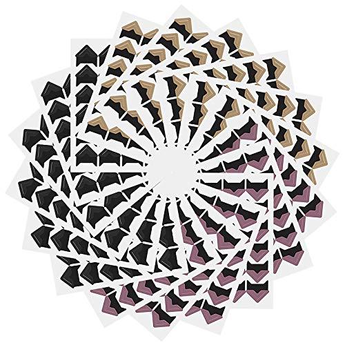 Kinstecks 18 Blatt Foto-Ecken 432 Stück Selbstklebende Foto-Ecken-Aufkleber-Bilderrahmen-Ecken-Foto-Papier-Aufkleber für DIY Scrapbook-Fotoalbum Persönliches Journal-3 Farben
