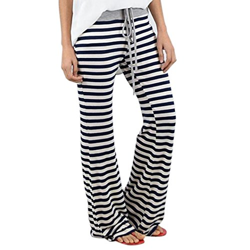 Gamaschen VENMO Frauen Stripe Prints Drawstring Wide Leg Hose (M, Black) (Drawstring Denim-shorts)