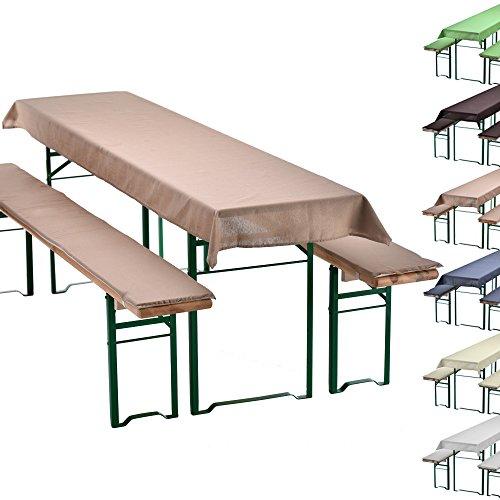 PROHEIM Uni-Set de braserie Set de 3 Nappe pour Table de braserie + 2 Coussins d'assise matelassés - Choix des Couleurs & Dimensions, Couleur:Beige, Taille:240 x 90 cm