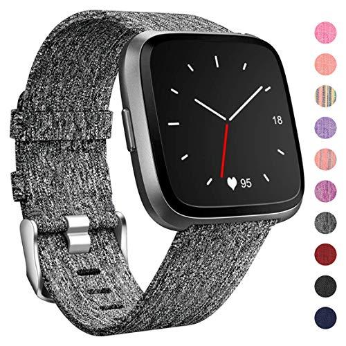 HUMENN Für Fitbit Versa Armband/Fitbit Versa 2 Armband, Woven Ersetzerband Verstellbares Zubehör Uhrenarmband mit Edelstahlschnalle Für Fitbit Versa/Fitbit Versa Lite, Klein Schwarz Grau