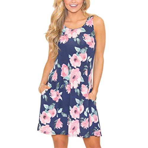 umendruckkleid mit Rundhalsausschnitt für Damen Frauen Sommer Sleeveless Taschen Blumenaufflackern beiläufiges Tägliches Kurzes Minikleid (L, Blau-2) (Charakter Verkleiden Für Partys)