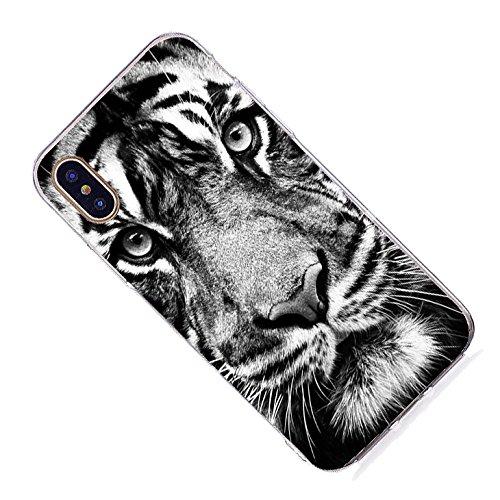 Inonler custodia Giraffa carina, il collo animale più lungo dellAfrica, silicone TPU trasparente e morbido disegnoper il iPhone X, Custodia Viola Marrone