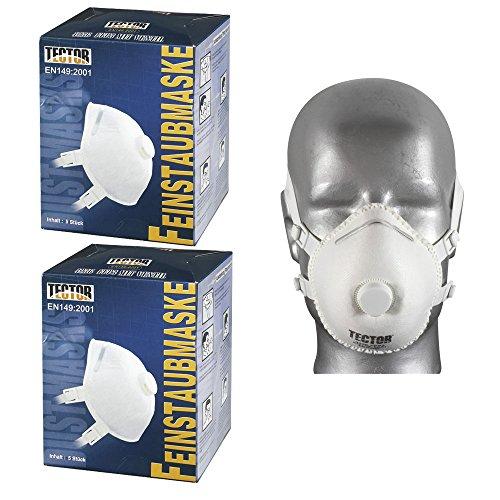 10 Stück Feinstaubmaske TECTOR 42361 FFP3 mit Ventil Atemschutzmaske EN149:2001 FF P3