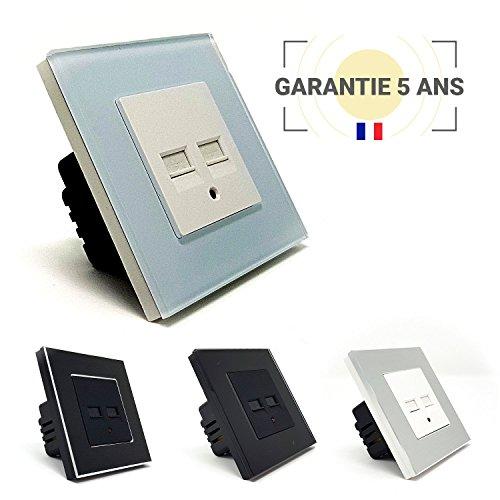 Toma de pared USB 3.1A empotrable para teléfonos y tabletas IOS y Android-Enchufe de doble USB - Design Lumtouch–Modelo en cristal blanco