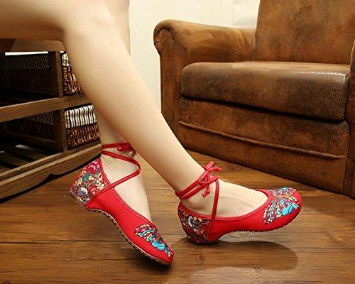 & Hua Sapatos, Muito Tempo Único, Estilo Étnico, Sapatos Femininos, Forma, Vermelho Confortável Bordado.