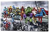 Marvel & DC Superheroes Déjeuner au Sommet d'un Gratte-Ciel avec Captain America, Iron Man, Batman, Wolverine, Deadpool, Hulk, Flash et Superman par Dan Avenell - Toile imprimée sur châssis (58x86cm)