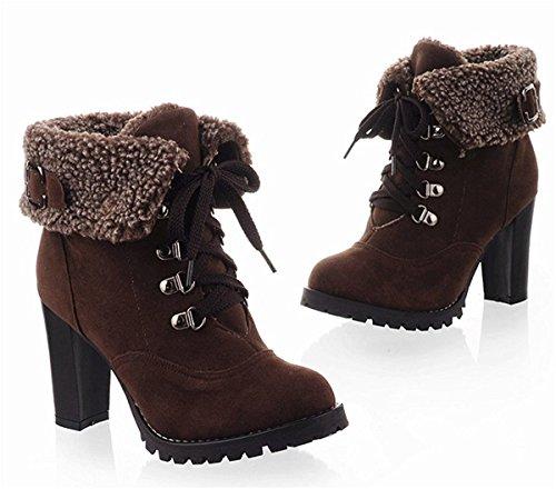Minetom Mode Femme Automne Hiver Talon Haut Courtes Bottes Vintage Confortable Plateforme Chaussures Boots Café