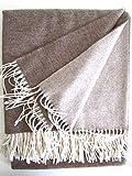 Kaschmirplaid braun doppelseitig 135x185, Wollplaid, Wolldecke 50% Kaschmir, 50% feinste Merinowolle