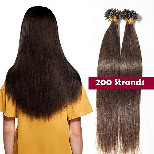 Extension cheratina capelli veri 200 ciocche castani 100g - 100% remy human hair indiani naturali u tip hair extensions colla lisci umani (40cm #2 marrone scuro)