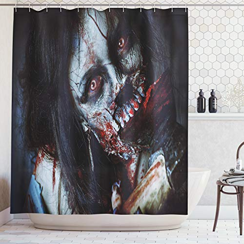 ABAKUHAUS Duschvorhang, Furchteinfliesende Tote Frau Zombie Blutige Axe Evil Fantasy Gothic Geheimnis Halloween Bild, Blickdicht aus Stoff inkl. 12 Ringe für Das Badezimmer Waschbar, 175 X 200 cm (Halloween Oma Tote)