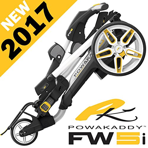 """NEW 2017"" POWAKADDY FW5i WHITE ELECTRIC GOLF TROLLEY + 18 HOLE LITHIUM BATTERY"