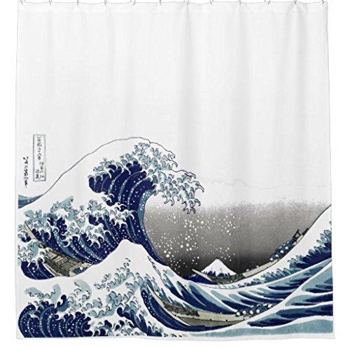 zichuangd Vintage Grande Vague Hokusai Rideau de douche