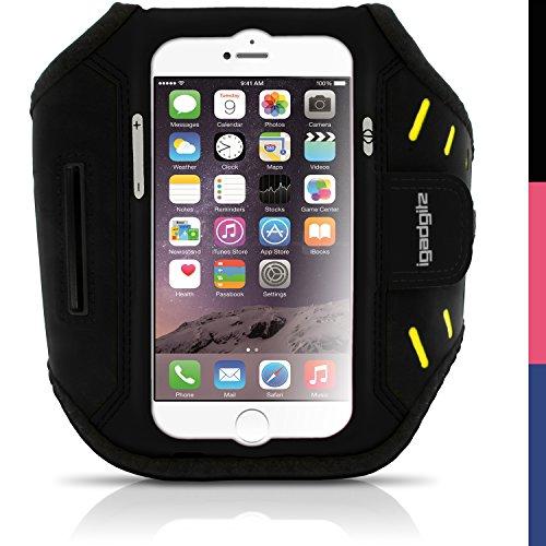 igadgitz Schwarz Wasserabweisend Leichtes Neopren Sports Jogging Armband Laufen Fitness Oberarmtasche für Apple iPhone 6 & 6S 4.7 Zoll mit Schlüsselfach