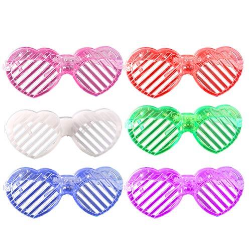 Amosfun LED Jalousie Brille Blink Shutter Brille Liebe Herzform (Weiß/Grün/Blau/Rot/Lila/Pink) 6St -