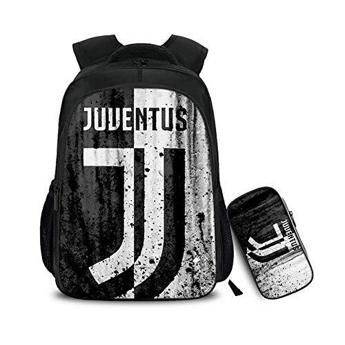 Fußball-mädchen-rucksack (BDMF Kinder 2 Stück Schultasche Set 3D Juventus Fußball Bewegung Drucken Rucksack mit Mäppchen zum Jungs Mädchen,10)