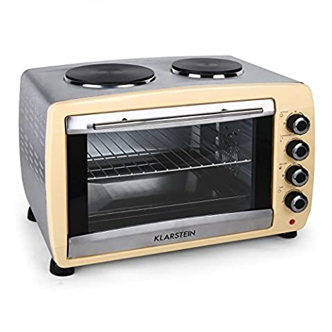 Klarstein Omnichef 45HC Oven 2 Hot Plates Versatile Mini Grill Convection & Rotisserie Function with Hinged Door with Safety Glass Easy to Use and Clean (2000W, 45L Capacity, Grill Baking Tray & Rotisserie Included) Cream