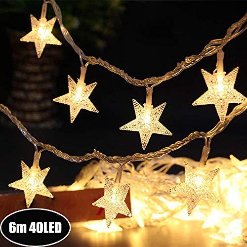 Sterne Lichterkette Galaxer 40 StüCke LED Stern Nacht Weihnachten String Lichter 20Ft / 6M Monochrome Modus Wasserdicht Warmweiß Dekoration Licht für Indoor Outdoor (Warmweiß, Batterie-betrieben)